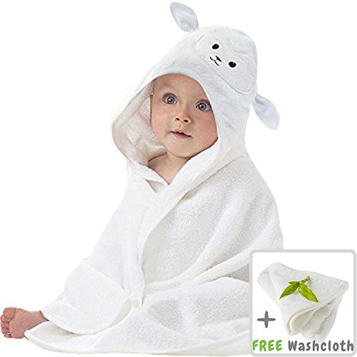 Organic Bamboo Baby Hooded Towel with Bonus Washcloth | Ultra Soft and Super Absorbent Toddler Hooded Bath Towel with Cute Lamb Face Design | Great Infant/Newborn Shower Present for Boy (Lamb Door Hanger)