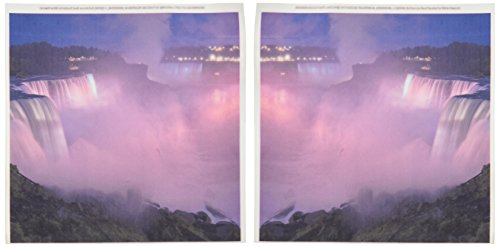 - 3dRose ht_93048_1 New York, Niagara Falls Mist with Pink Light- Us33 Bja0032 -Jaynes Gallery- Iron on Heat Transfer for Material, 8 by 8-Inch, White