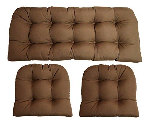(RSH Decor Sunbrella Canvas Cocoa Brown 3 Piece Wicker Cushion Set - Indoor/Outdoor Wicker Loveseat Settee & 2 Matching Chair)