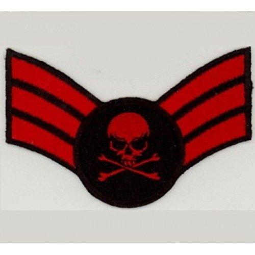 Patch Mini /épaulette Crane Rouge ecusson Tete de Mort Biker hotrodspirit