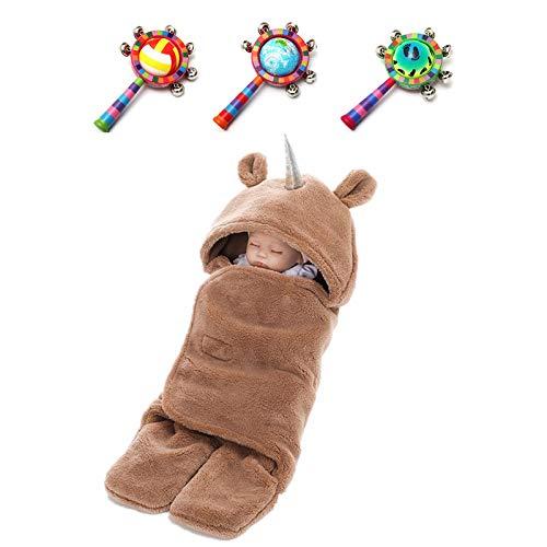 (KKING Newborn Warm Unicorn Fleece Sleeping Bag Wrap Blanket Sleepsacks Baby Swaddle Photography Prop for 0-12 Months +Wood Handbell Halloween)
