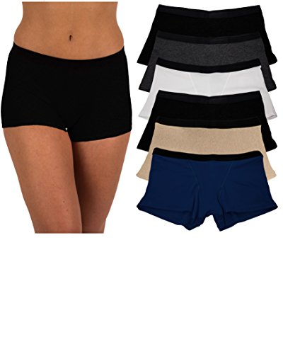 Sexy Basics Women's 6 Pack Buttery-Soft Modern Active Boy Short Boxer Brief Panties (6 Pack- Black/Nude/Charcoal/Navy/White, Small) - Poly Workout Short
