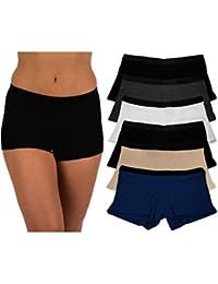 289b6ed87b21 Women's 6 Pack Modern Active Buttery Soft Boy Short Boxer Brief Panties
