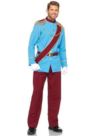 Leg Avenue Disney 4Pc. Prince Charming Costume Jacket with Fringed Epaulettes Sash Belt Pants, Blue/Burgundy, Medium
