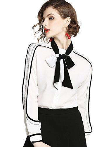 omen's Paisley Print Tie Neck Shirt Regular Fit Long Sleeve Blouse Tops ()