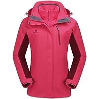 CAMEL CROWN Women's Ski Waterproof Jacket Fleece Inner Rain Winter Coats Hooded Windproof Snowboard Jacket Hiking Snow Outdoor Travel