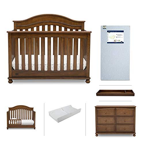 Nursery Baby Furniture Set - 6 Pieces Including Convertible Crib, Dresser, Crib Mattress, Toddler Rail, Changing Top and Changing Pad - Simmons Kids Bristol Collection - Antique Chestnut Brown from Delta Children