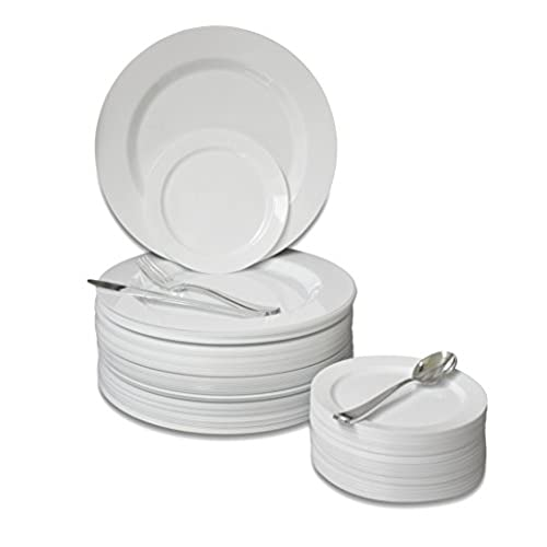 OCCASIONS   300 PCS / 60 GUEST Wedding Disposable Plastic Plate and Silverware Combo Set  ( Plain white plates  Silver silverware ) .  sc 1 st  Amazon.com & China Look Disposable Plates: Amazon.com