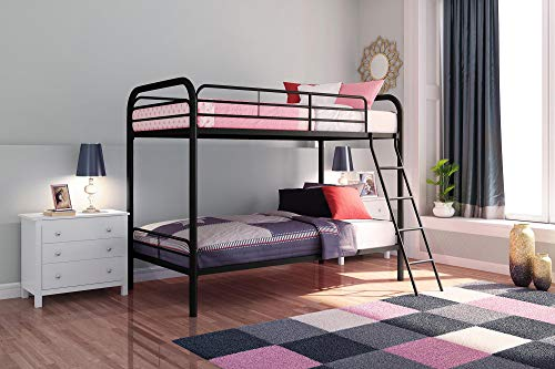 - DHP Twin-Over-Twin Bunk Bed with Metal Frame and Ladder, Space-Saving Design, Black