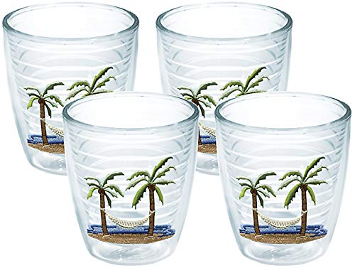 Tervis 1035977 Palm Tree & Hammock Scene Tumbler with Emblem 4 Pack 12oz, Clear -