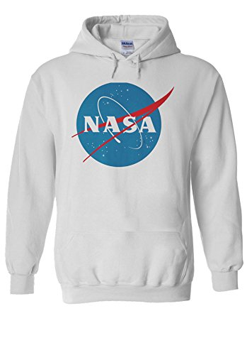 (Nasa National Space Administration Logo White Men Women Unisex Hooded Sweatshirt Hoodie-XL)