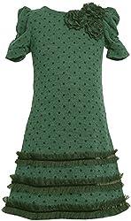 Bonnie Jean Little Girls Teal Black Flock Dot Knit Social Dress (4, Teal)
