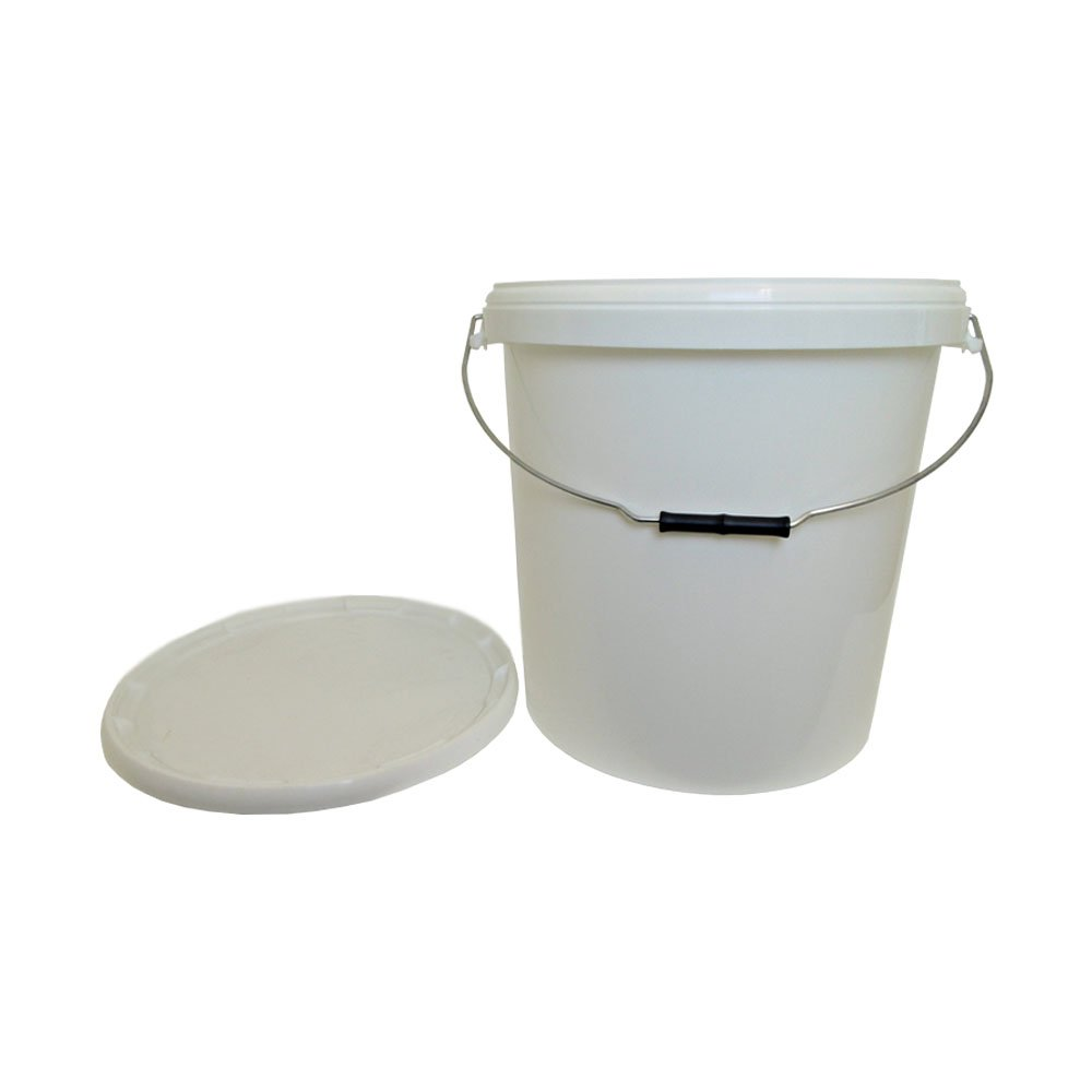 30 Litre Ltr L Plastic White Bucket with Wire Handle and Lid for Storage Food Grade Liquid Home Brew Kitchen Garden Oipps