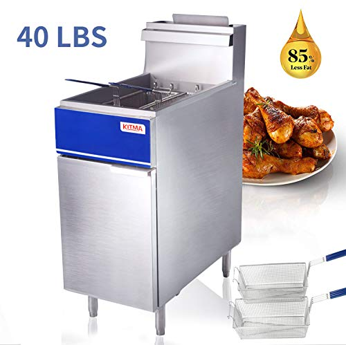 Commercial Deep Fryer - KITMA 40 lb. Natural Gas Floor Fryer with 2 Fryer Baskets - Restaurant Kitchen Equipment for French Fries