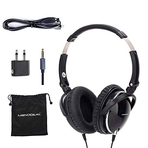 Active Noise Cancelling Headphones with Mic, MonoDeal Over Ear Deep Bass Earphones, Folding and Lightweight Travel Headset with Carrying Case - Black 85% Background Noise Reduction ()