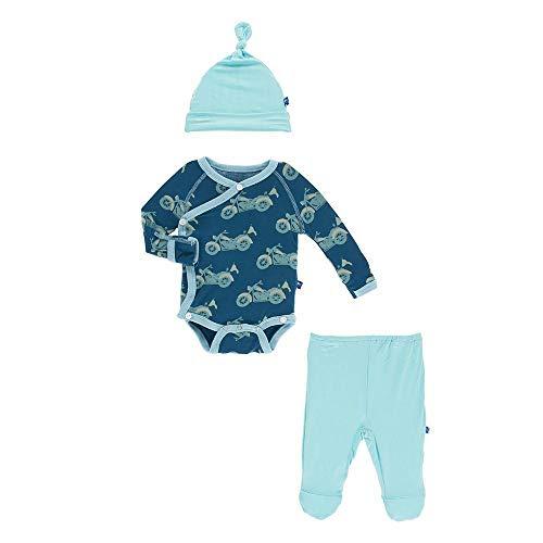 Kickee Pants Little Boys Kimono Newborn Gift Set With Elephant Box - Heritage Blue Motorcycle, 3-6 ()