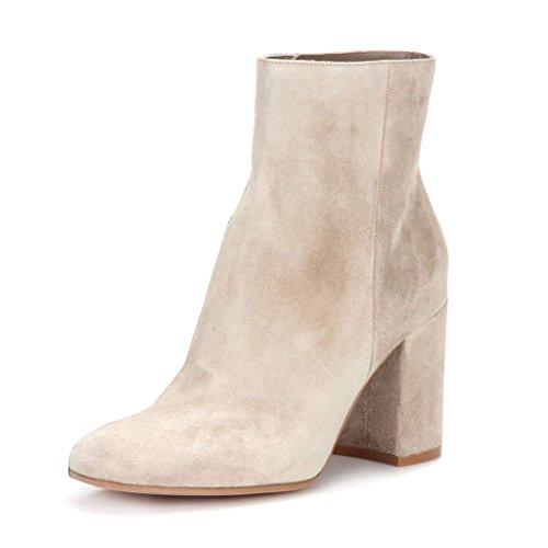 Handmade US Block Heel FSJ Booties Almond Beige Size Chunky Zipper Elegant 4 Ankle Dress 15 Women Toe Boots pwwXxqa0