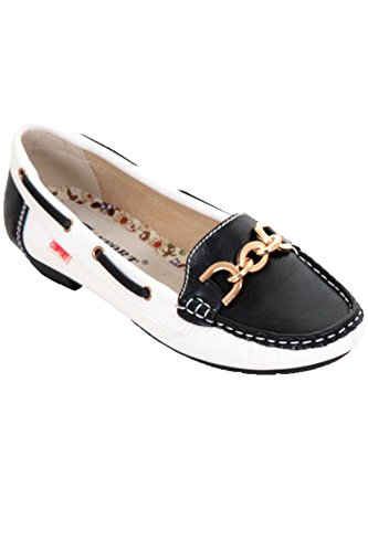 FANTASIA BOUTIQUE ® Ladies Contrast Colour Slip On Flat Gold Chain Moccasin Small Heel Loafer Shoes Black / Cream dsi7d