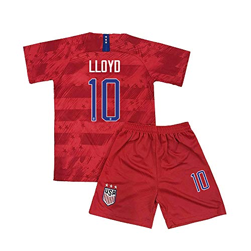 Youth Lloyd Jersey Girls USA Kids Soccer Shorts Away 10 Carli Sizes Red (M=24(7-8Years Old)) (Childrens Usa Soccer Jersey)