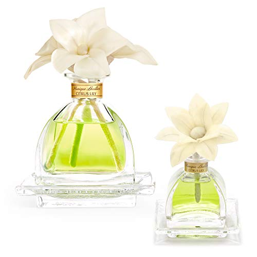 AGRARIA AirEssence Luxury Diffuser Duo Citrus Lily Scent, One 7.4oz with 3 Sola Flowers and 20 reeds, and One 1.7oz with 1 Sola Flower and 7 Reeds, Set of 2 Diffusers