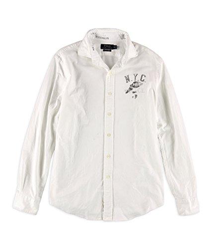 Polo Ralph Lauren Mens Stretch Long Sleeve Oxford Shirt White Medium - Polo Outlet Lauren Online Ralph