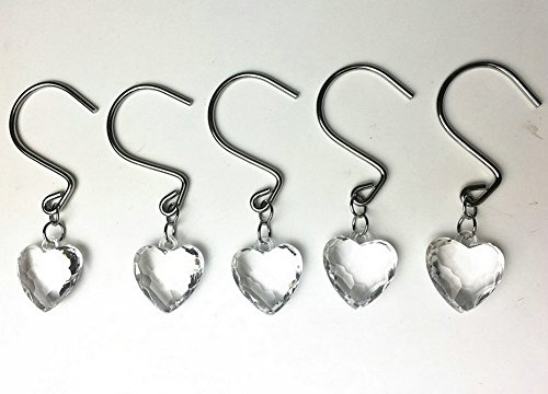 Chictie 12 Pieces Clear Crystal Shower Curtain Hooks Rings Set for Bathroom Rust Proof Chrome Decorative Heart Pendant Gem Hangers