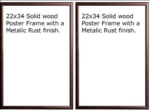 Two(2) Wood Metallic Rust Finish Poster Frame 22x34 or 34 x 22 - Buy