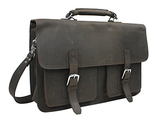 Vagabond Traveler 20'' Super Extra Large Pro Leather Briefcase Laptop Bag. Heavy 7Lb LB08.DB by Vagabond Traveler