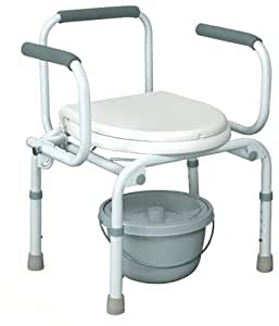 Commode, Toilet and Shower Chair with Removable Back, Flipping Armrests and Flat Hard Seat Cover