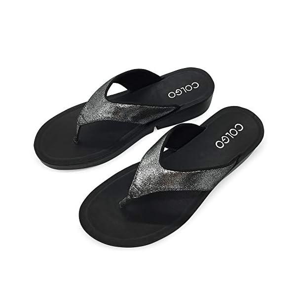 Colgo Walking Wedge Flip Flops for Women,Soft Comfort Platform Thong Sandals with Heel Footbed Casual Slide Flip Flops