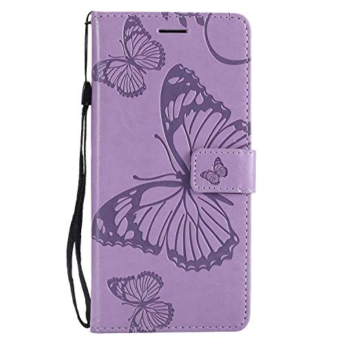 (CUSKING Case for OnePlus 6, Leather Flip Cover Magnetic Wallet Case with Butterfly Embossed Design, Case with Card Holders and Kickstand - Purple)