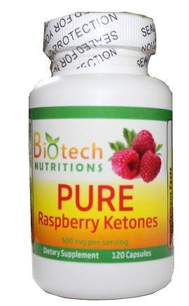 Nutritions biotech pure Framboise cétones 500 mg par portion de 120 capsules, 100% pure et naturelle cétones de framboise 250mg Par comprimé, perte de poids, coupe-faim