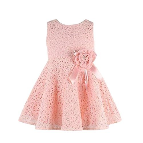 Lisin 1PC Girls Kids Full Lace Floral Princess Party Dress Sleeveless Child O-Neck One Piece Dress (Pink, 4-6Years) from Lisin
