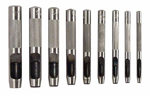 Leather Hole Punch KangTeer 9 PCS 2.5-10mm Belt Hole Puncher Cylindrical Leather Gasket Hollow Hole Punch Set Leather Punching Tool