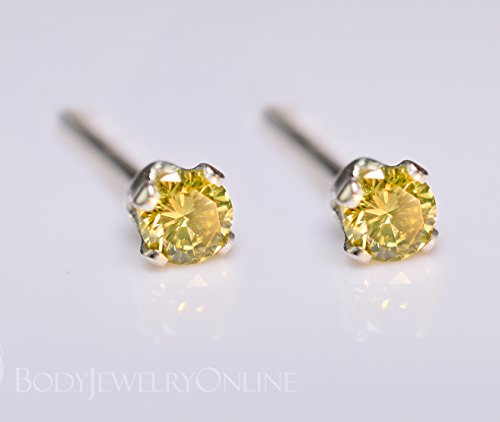 Genuine CANARY YELLOW DIAMOND Earring Studs 2mm 0.08tcw Post 14k Solid Gold (Yellow, Rose or White), Platinum, Silver Lobe Cartilage Helix Tragus by Body Jewelry Online