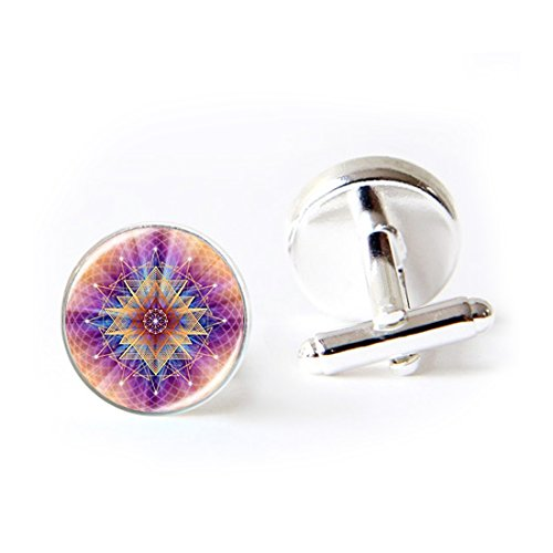 LEO BON Mens Classy Cufflinks Flower of Life Art Photo Deluxe Wedding Business Cuff Links Movement Shirts Studs Button from LEO BON