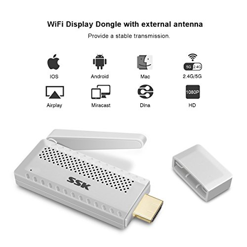 WiFi Display Dongle, ONCHOICE Miracast Dongle 2.4G/5G Mini Display Receiver 1080P HDMI Adapter High Speed TV Dongle Support YouTube iTunes Miracast DLNA Airplay for Android/iOS/Windows/Mac (Dongle Media Player)