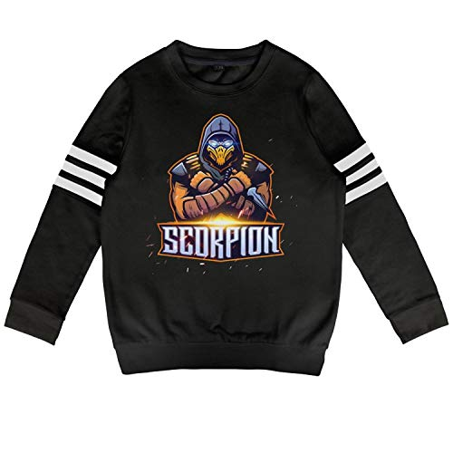 (Kids Scorpion-Mortal-Kombat- Sweatshirt Long Sleeve Costume for Boys Or)