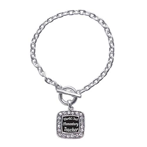 Inspired Silver - World's Best Elementary School Teacher Toggle Charm Bracelet for Women - Silver Square Charm Toggle Bracelet with Cubic Zirconia Jewelry