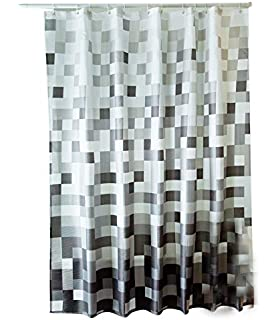 Sfoothome Gray Mosaic Shower CurtainWaterproof Polyester Fabric Bath Curtain For Bathroom WithPlastic Rings
