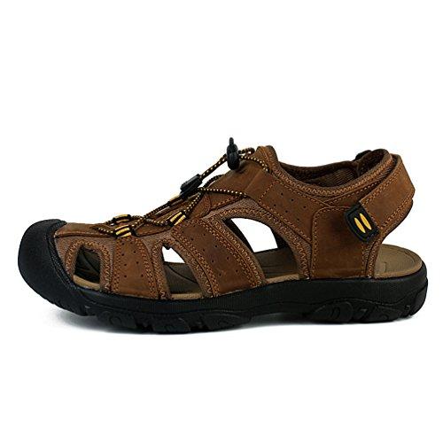 Sunrolan Jonas Mens Lether Sports Pêcheur Sandales Sentier Deau En Plein Air Chaussures De Marche Sandales Marron