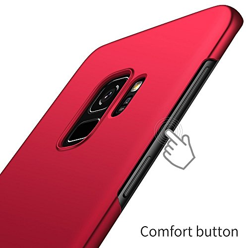 Para Samsung S9 Plus S9 + carcasa del teléfono, Thin Sleek funda protectora contra arañazos acabado mate funda dura para Samsung Galaxy S9 Plus - protectores de pantalla agradable rojo