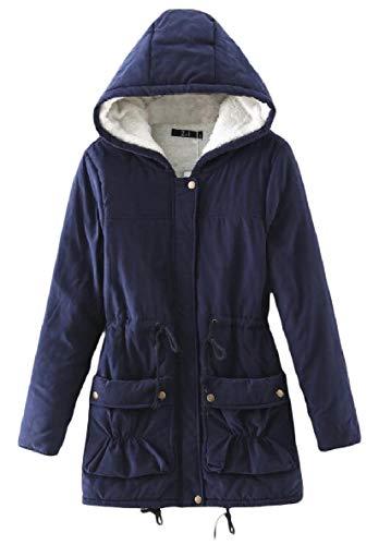 Xinheo Navy Lungo Spessore Caldo Outwear Cappotto Di Velluto Tasca Donne Blu Cappuccio Medio Elastico qrWwOqZITH