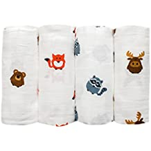 Grey Bee 4 Pack Large Organic Muslin Baby Swaddles, Soft Cotton Blankets (48 x 48)- Woodland Animal