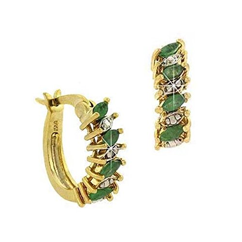 Gold Tone Over Sterling Silver Emerald & Simulated Diamond Accent Marquise Cut Hoop Earrings - Marquise Cut Diamond Earrings