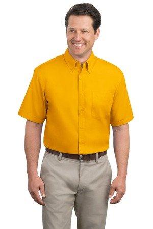 (Port Authority Men's Big Short-Sleeve Easy Care Dress Shirt - Gold/Gold S508 XL)