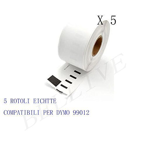 5 Rotoli Etichette adesive compatibile per DYMO 99012 S0722400 89mm X 36mm Dymo LabelWriter 310, 320, 330, 330 Turbo, 400, 400 Turbo, 400 Twin Turbo, 400 Duo, 450, 450 Turbo, 450 Twin Turbo, 450 Duo. BELLIVESTORE BL-DM-99012