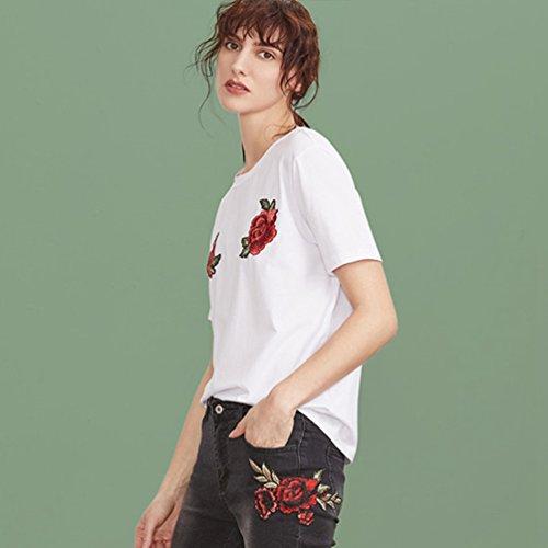 WanYang Mujeres Verano Atractiva Rose Bordado Flor De Moda Camisa Manga Corta Blusa Camiseta Blanco