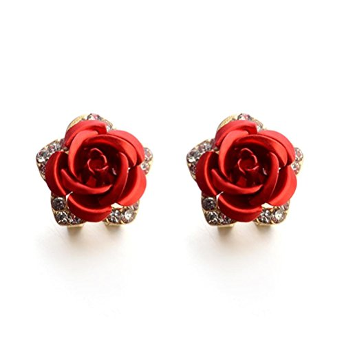 Auwer Earrings Jewelry, Fashion Jewelry Bohemia Flower Rhinestone Earrings For Women Summer Style (Red)