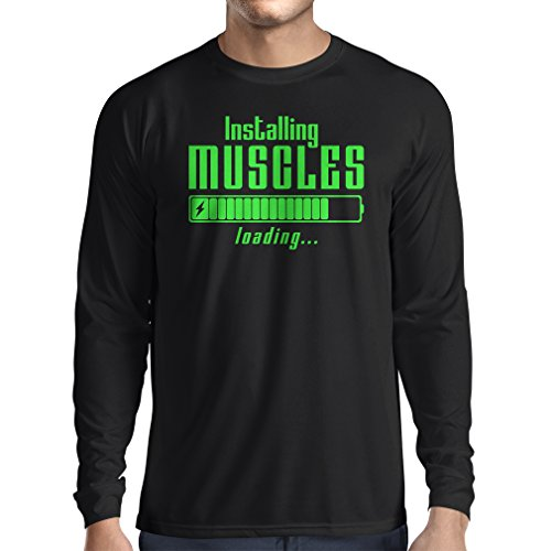lepni.me Camiseta de Manga Larga para Hombre Muscle Works Clothing - for Muscle Growth Masters, Vintage Design, Fitness...